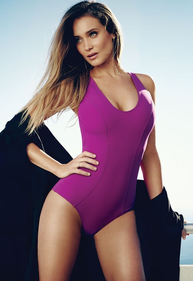 Hannah Davis flaunts her curves in a Lisa Marie Fernandez  purple one-piece swimsuit