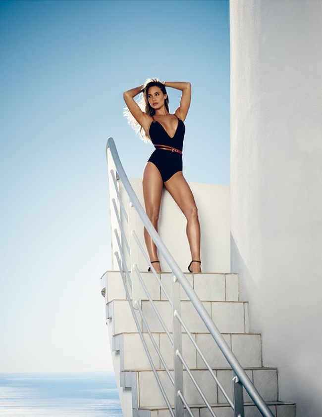 Hannah Davis models a Michael Kors Collection one-piece swimsuit