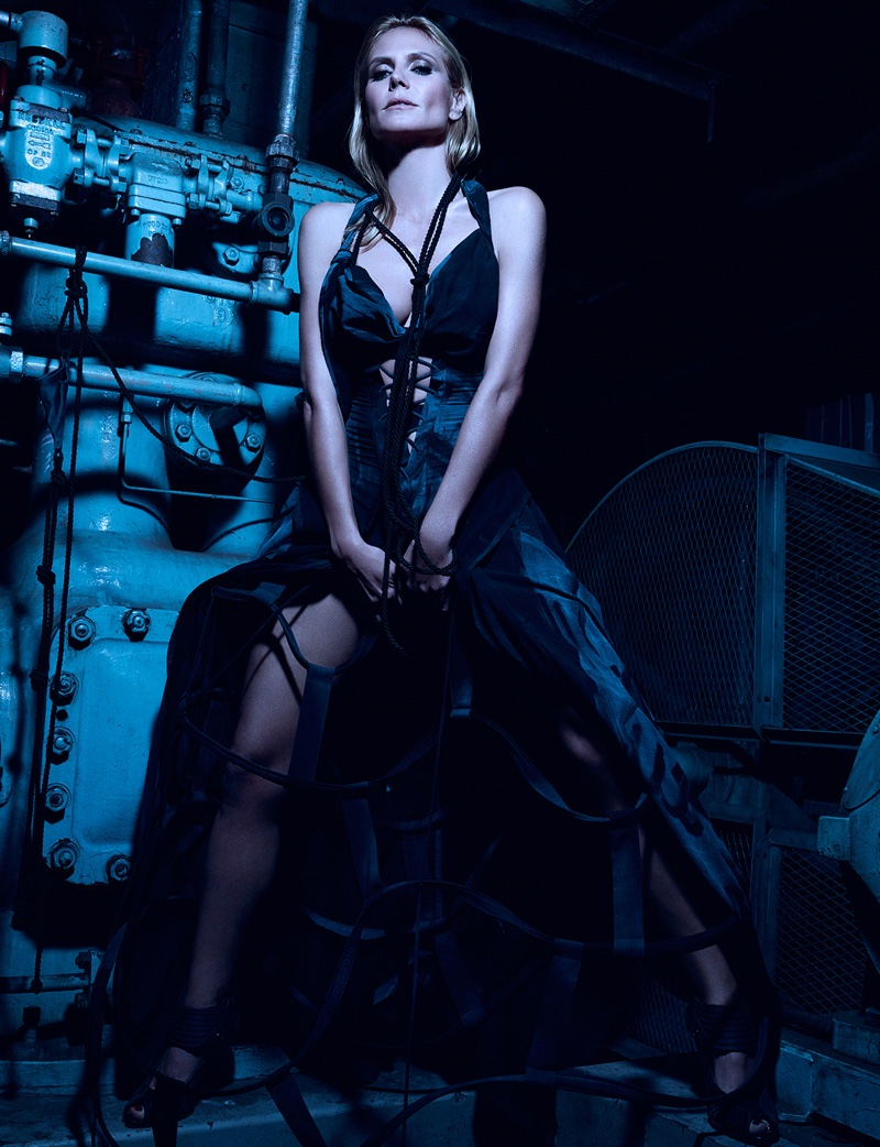Heidi Klum wears a black gown in the 10th issue of Hunger Magazine. Photo: Rankin