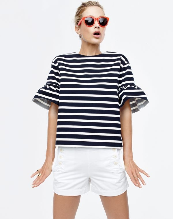 J. Crew Ruffle-Sleeve Top, Chino Sailor Short and Sam Sunglasses