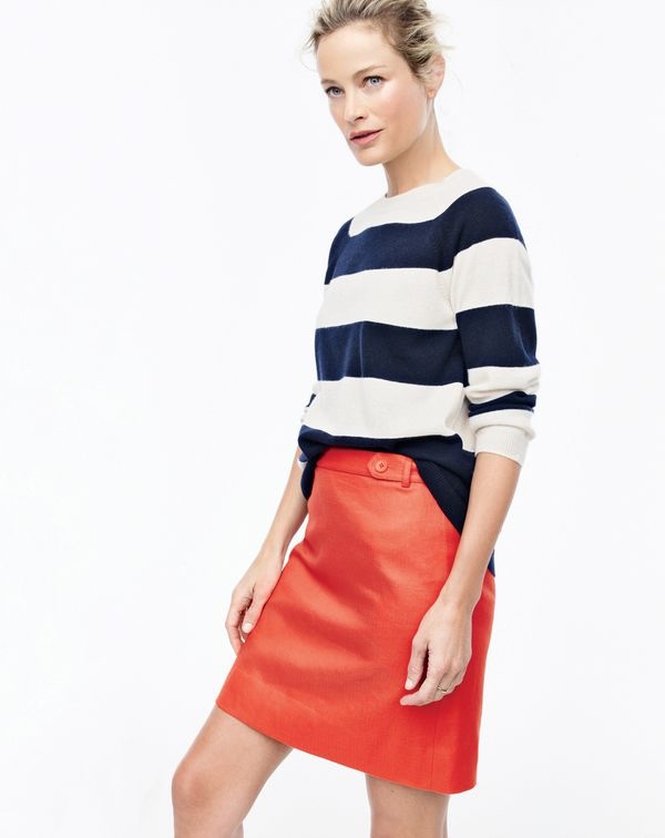 J. Crew Collection Cashmere Striped Boyfriend Crewneck Sweater and Mini Skirt in Bonded Linen