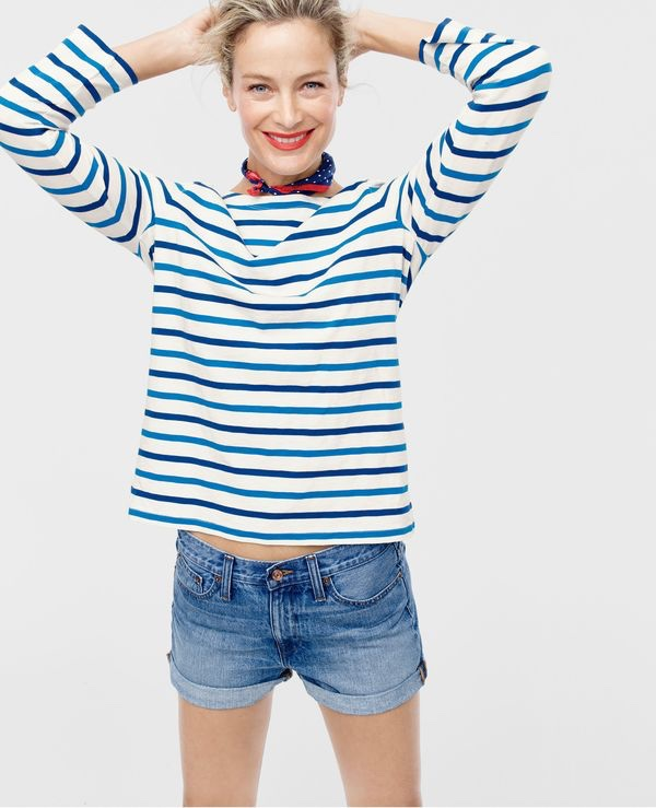 J. Crew Boatneck T-Shirt in Multicolor Stripe, High-Rise Broken-In Boyfriend Short in Meadow Wash
