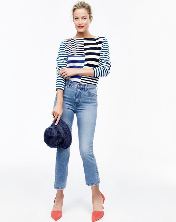 J. Crew Patchwork Striped T-Shirt, Billie Demi-Boot Crop Jean, Men's Japanese Cotton Bucket Hat and Elsie Suede d'Orsay Pumps