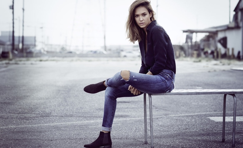 Jessica Alba poses in grunge-inspired denim from DL1961's spring 2016 collection