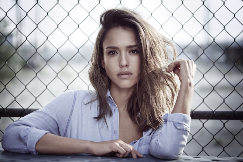 Jessica Alba wears a wavy hairstyle in DL1961 campaign