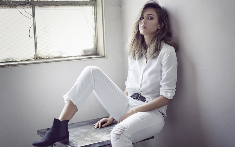 Jessica Alba lounges in white denim from DL1961