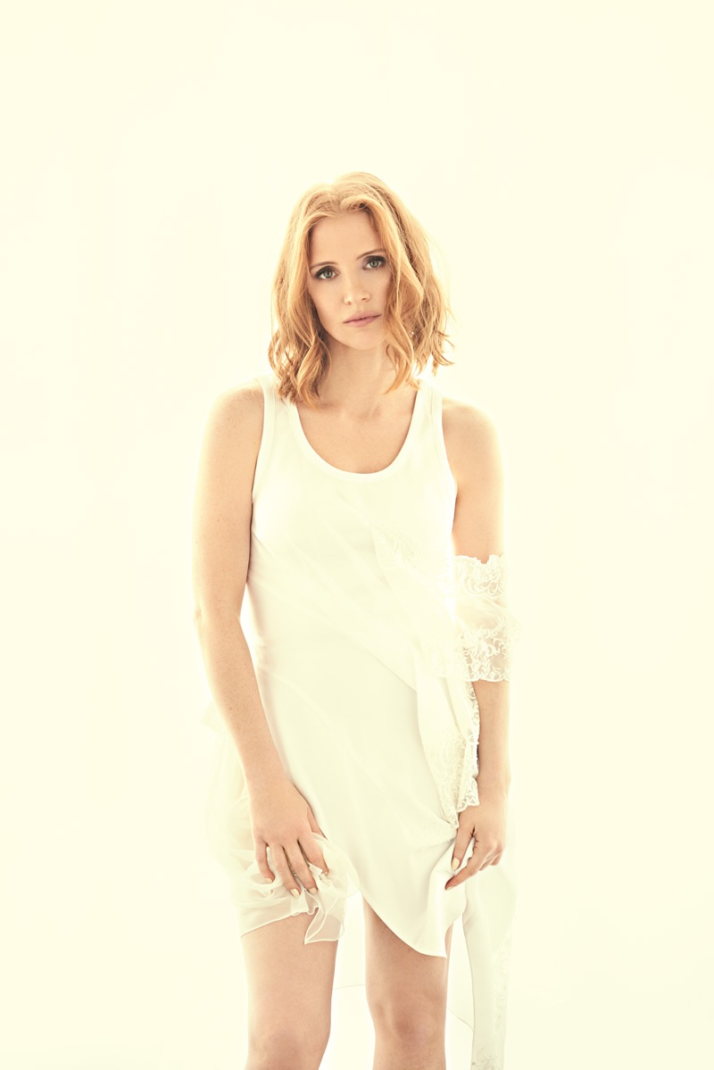 Photographed in a Givenchy dress embellished in lace, Jessica Chastain poses for Modern Luxury