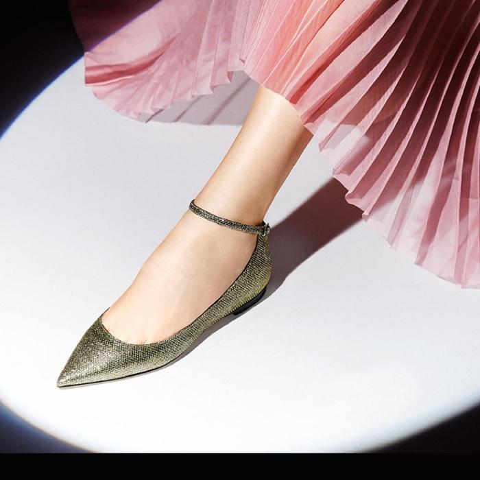 Jimmy Choo Lame Glitter Ankle-Strap Flats