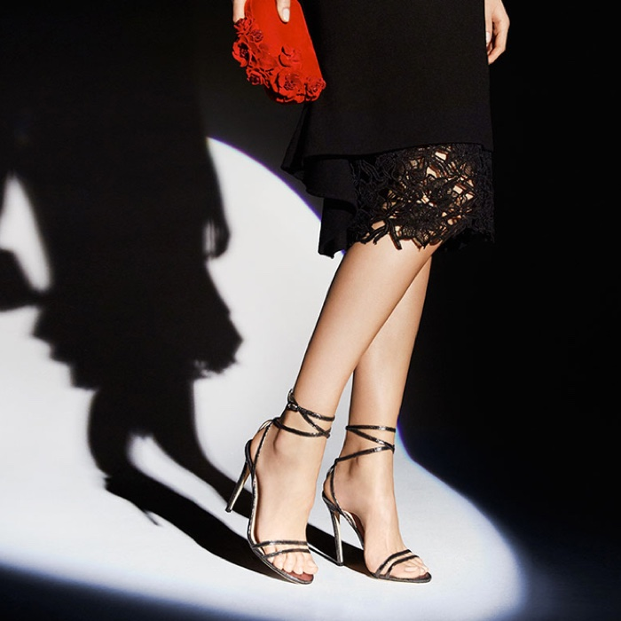 Jimmy Choo Metallic Leather Ankle-Wrap Sandals and Suede Roses Clutch