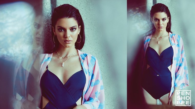 Kendall Jenner models a one-piece swimsuit and beach coverup from Penshoppe