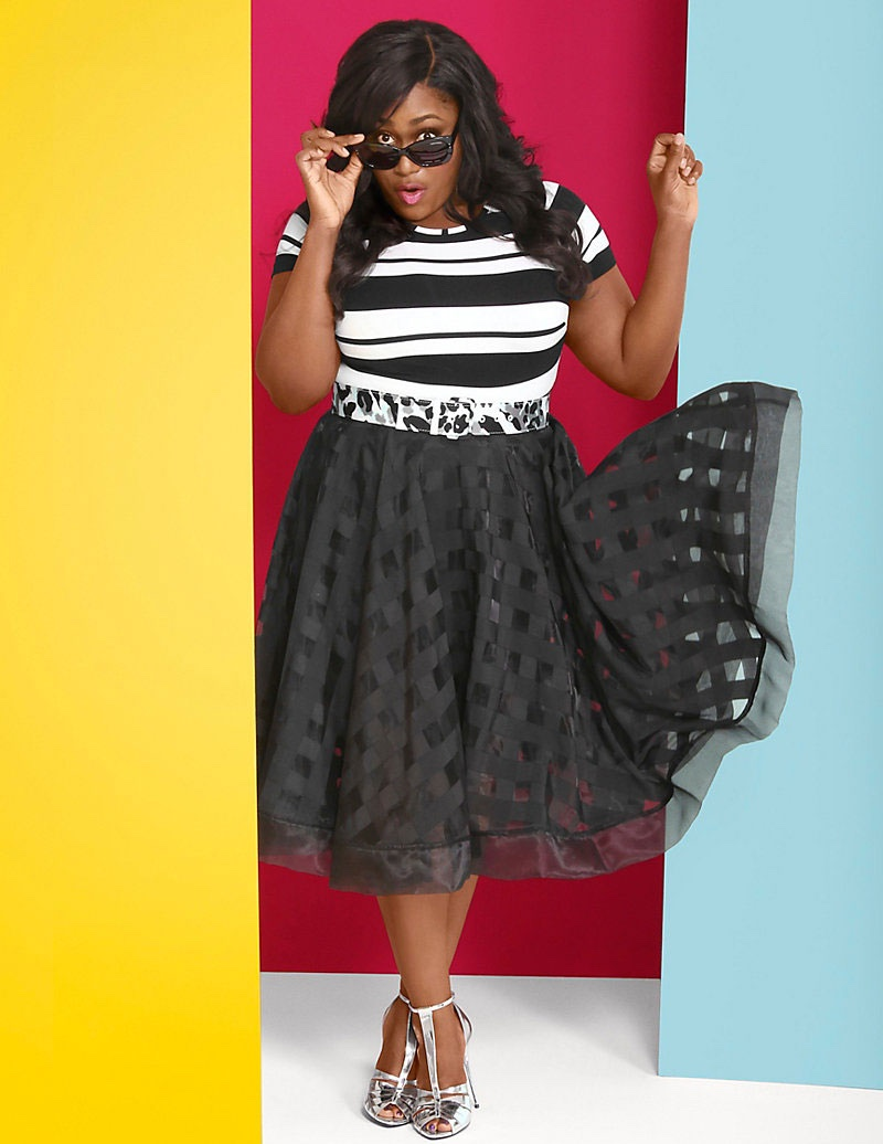 Lane Bryant x Christian Siriano Cropped Striped Tee & Organza Plaid Skirt