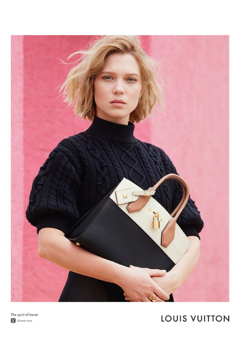 Lea Seydoux poses with Louis Vuitton's Capucines bag