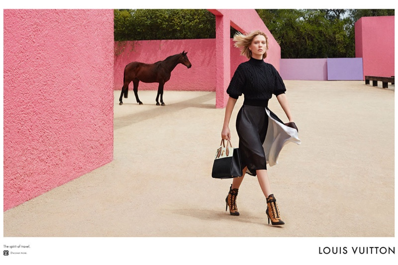 Lea Seydoux poses at the Cuadra San Cristóbal in Mexico for Louis Vuitton's 2016 Spirit of Travel campaign