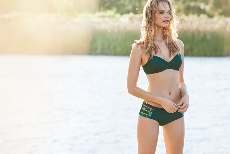 Marloes Horst models a green bikini from Lindex's summer 2016 collection