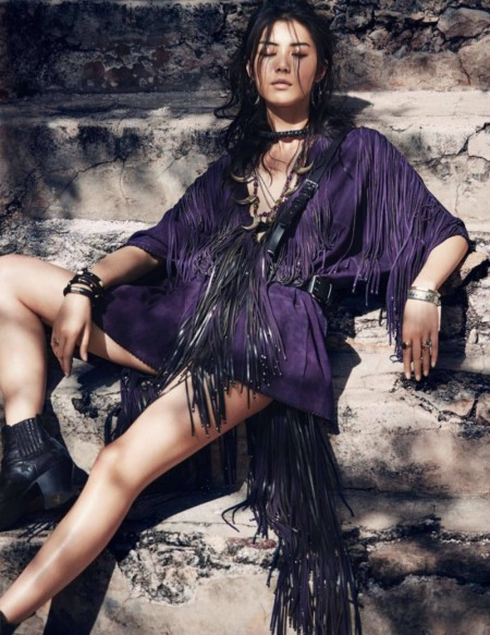 Liu Wen Takes On Spring's Tribal Chic Looks for ELLE France