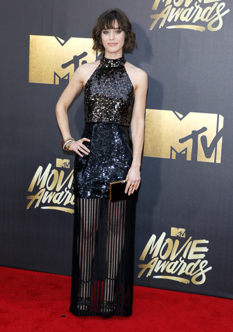 Masters of Sex star Lizzy Caplan wore a black Sally LaPointe dress with sequins. Photo: Tinseltown / Shutterstock.com