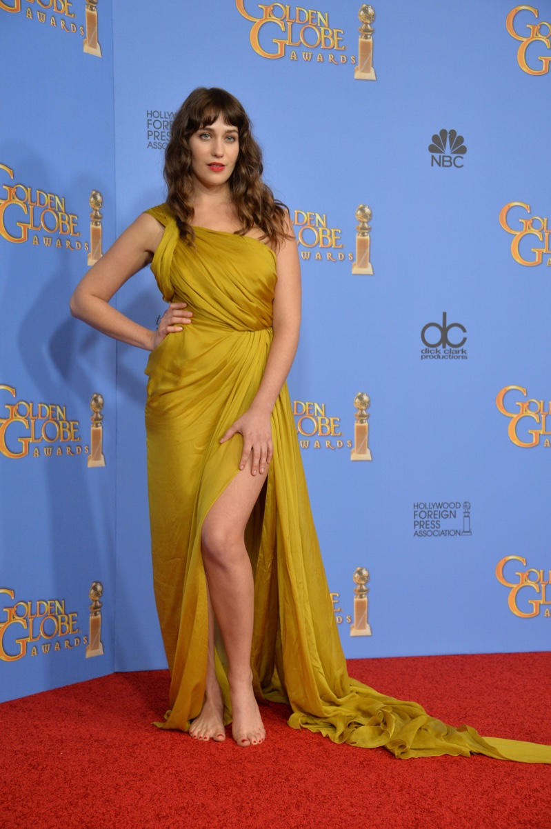 JANUARY 2016: Lola Kirke attends the 2016 Golden Globe Awards wearing a draped Monique Lhuillier dress. Photo: Featureflash / Shutterstock.com