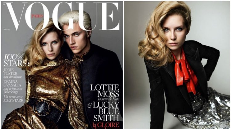 Lottie Moss & Lucky Blue Pose in Saint Laurent for Vogue Paris Cover Story