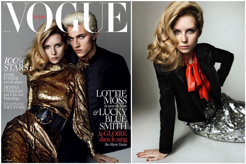 Lottie Moss & Lucky Blue Pose in Saint Laurent for Vogue Paris Cover Story