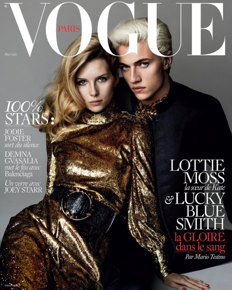 Lottie Moss and Lucky Blue Smith on Vogue Paris May 2016 Cover