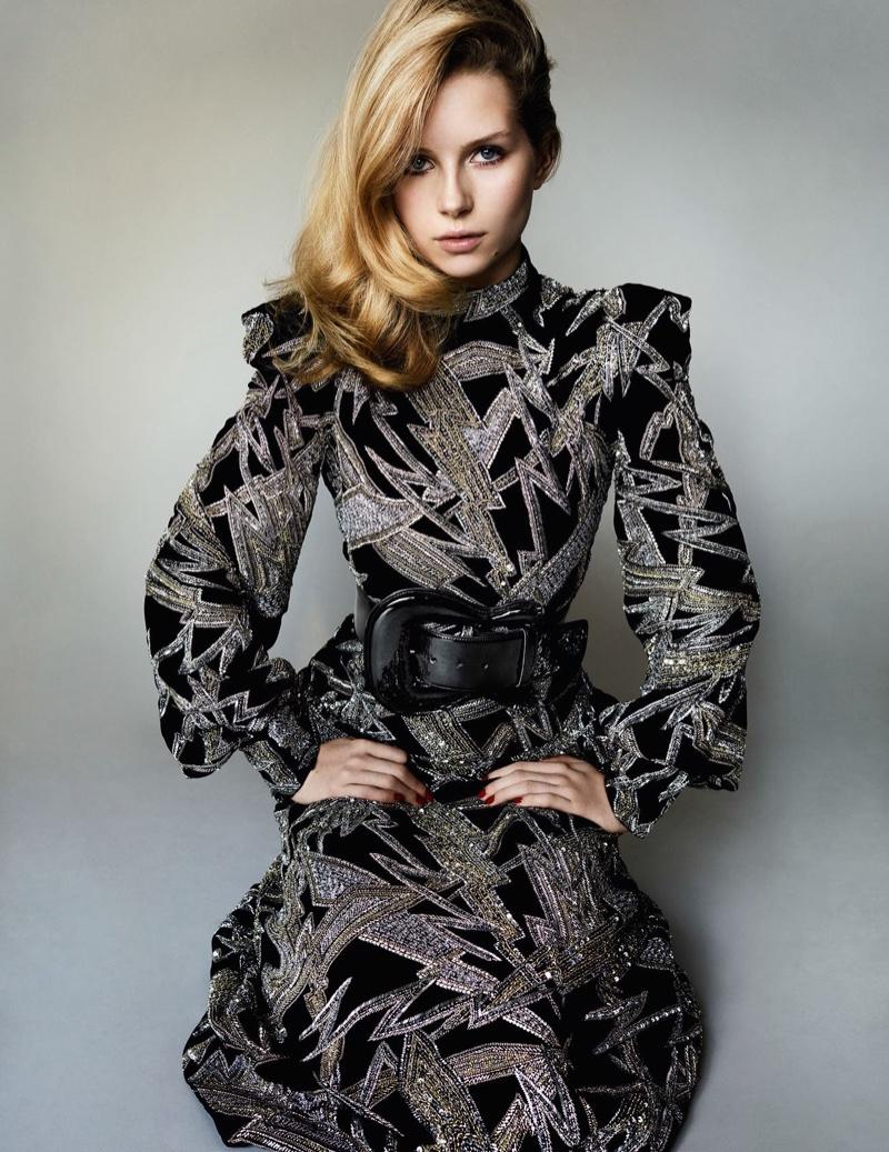 Lottie Moss channels 70s style in a long-sleeve maxi dress designed by Hedi Slimane for Saint Laurent