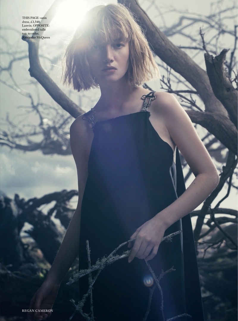 Looking lovely in black, Lou Schoof wears a Lanvin dress with metal details