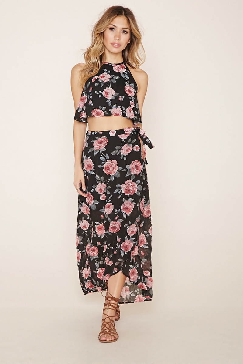 Lovecat Crop Top & Skirt Set with Floral Print