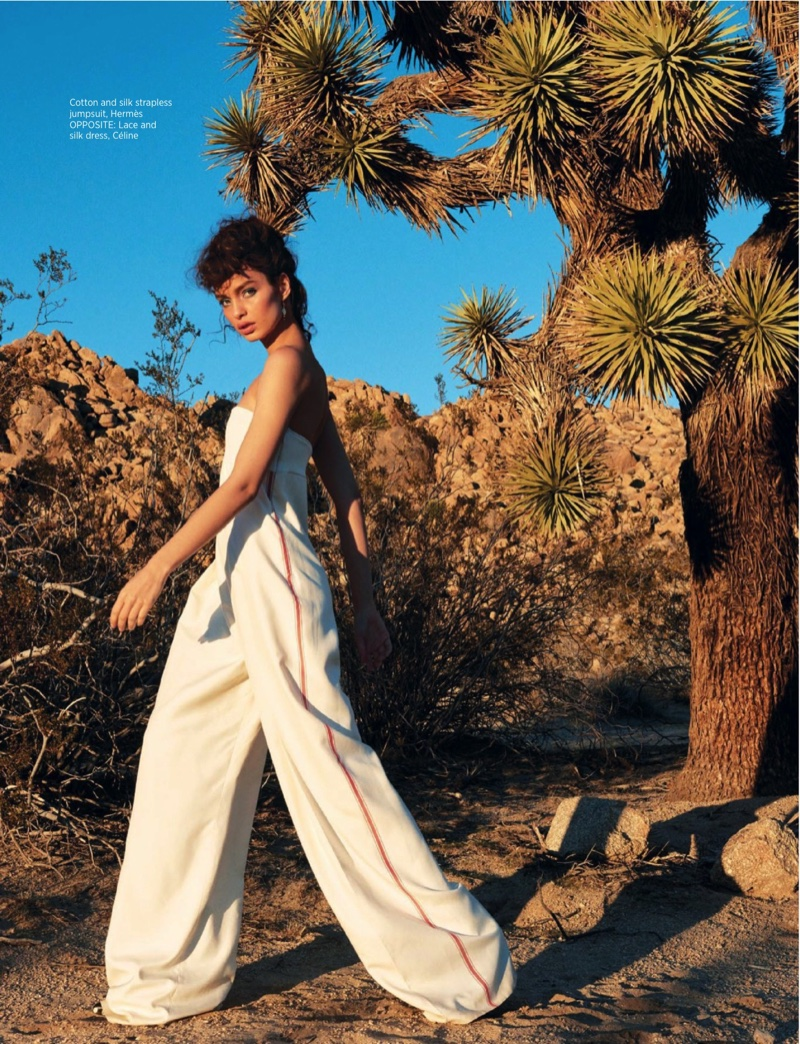 The model sports a cotton and silk strapless jumpsuit from Hermes