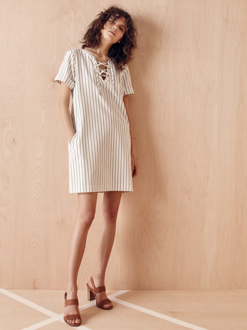 Madewell Harbor Lace-Up Shift Dress and Mayla Sandal