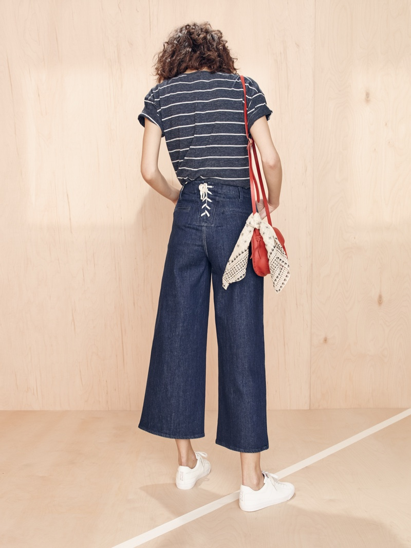 Madewell Whisper Cotton Tee, Wide-Leg Crop Jeans and Asheville Saddlebag