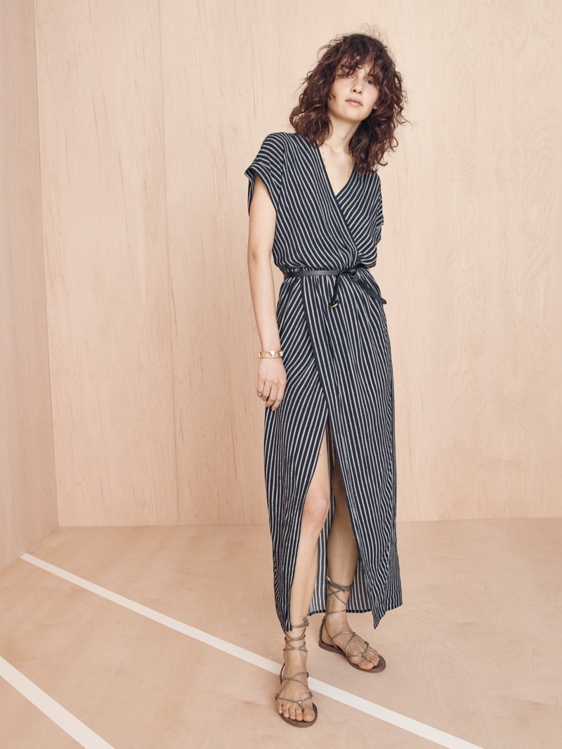 Madewell Wrap-Front Maxi Dress, Full Circle Belt, Boardwalk Lace-Up Sandal