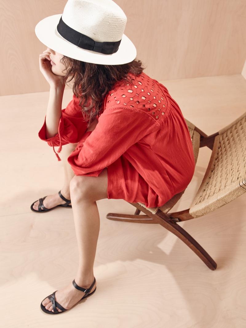 Madewell x Biltmore Hat, Daybreak Dress and Boardwalk Crisscross Sandal