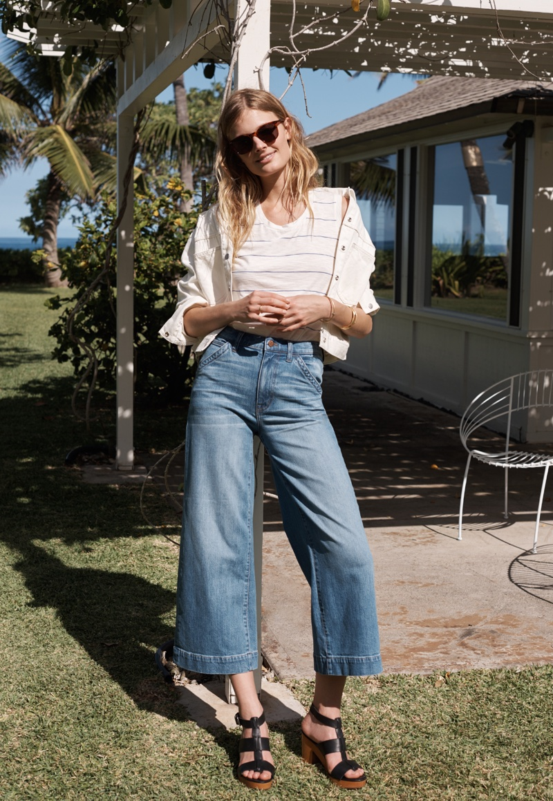 Madewell Whisper Cotton Tank, Calaveras Jean Jacket and Wide-Leg Crop Jeans