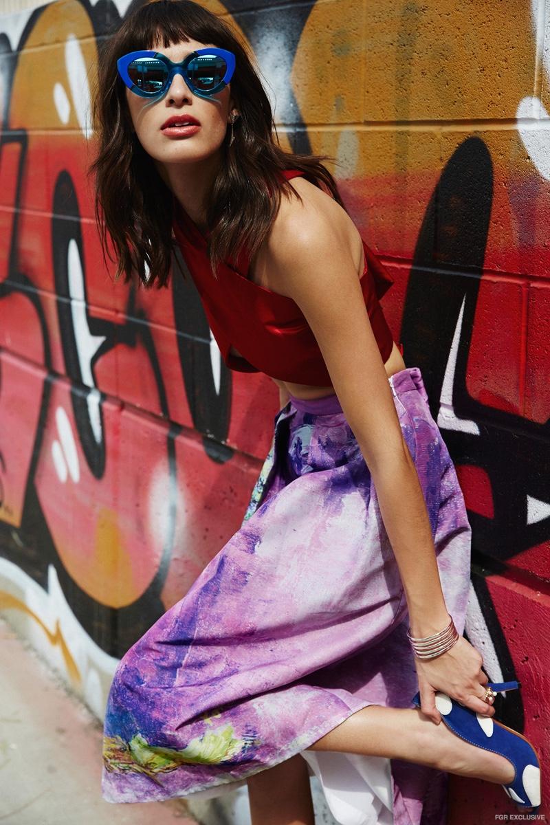 Top Michael Maven, Skirt Zena Presley,  Shoes Yull, Earrings Nicole Meng, Bracelet Jennifer Fisher
