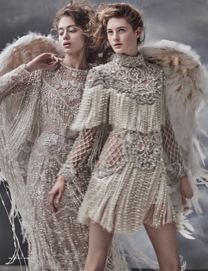 Embracing fringe, the fashion editorial features embellished gown from Elie Saab (left) and mini dress from Balmain (right)