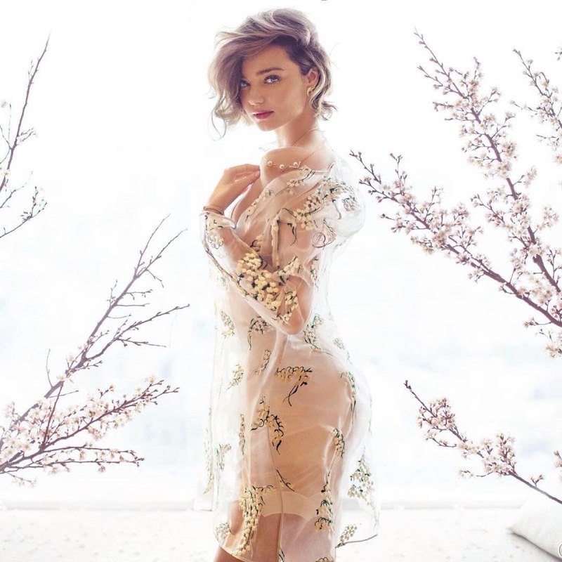 Miranda Kerr poses in a sheer look for the editorial