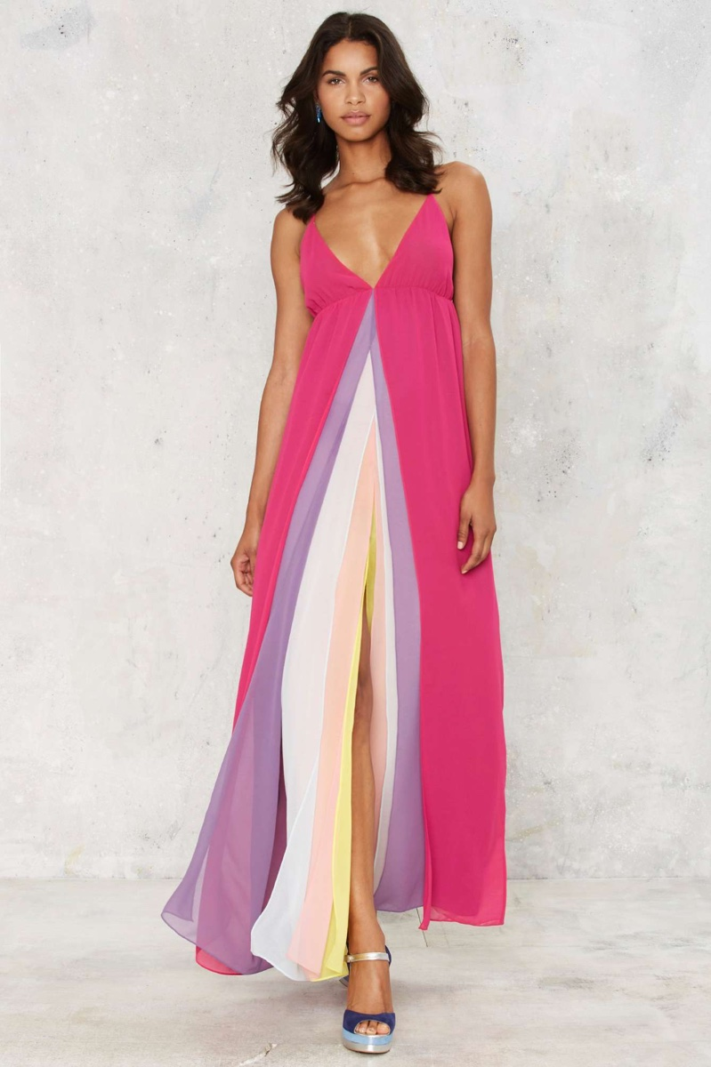 Nasty Gal Hazy Shades of Love Multi-Colored Maxi Dress