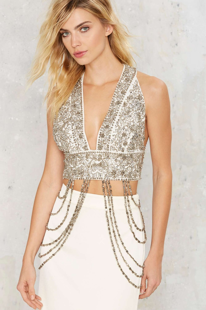 0575232a70 Rare London Power Tulle Plunging Mini Dress · Nasty Gal Heart of Stone  Beaded Bra Top