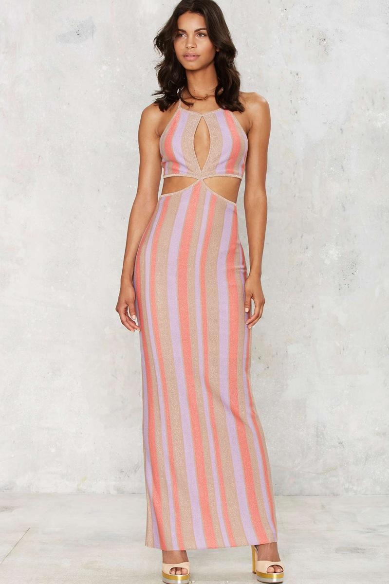Nasty Gal Move on Up Striped Lurex Dress