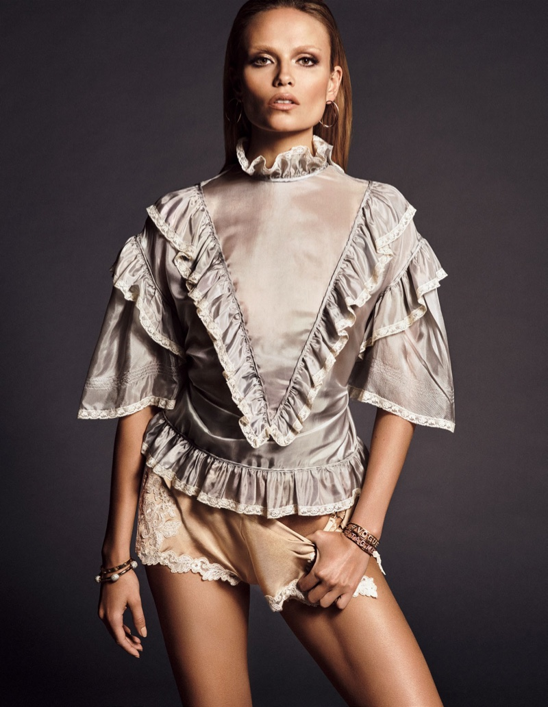 Natasha Poly embraces ruffles and lace for the fashion spread