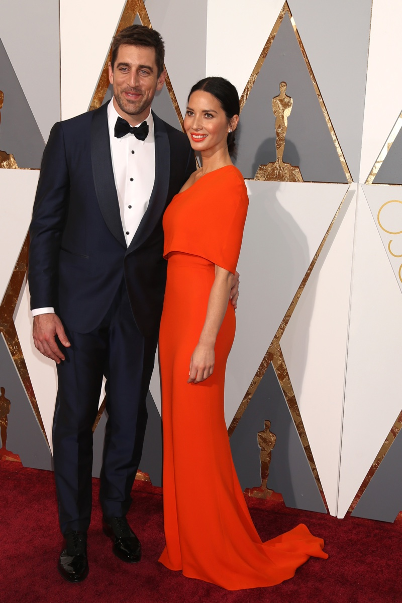 FEBRUARY 2016: Olivia Munn attends the 2016 Oscars with boyfriend Aaron Rodgers. Photo: Helga Esteb / Shutterstock.com