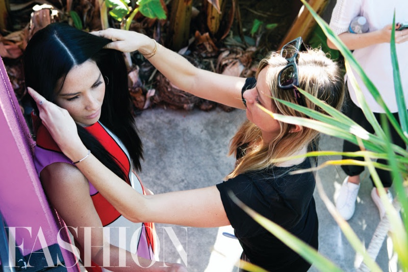 Olivia Munn behind the scenes on FASHION Magazine cover shoot