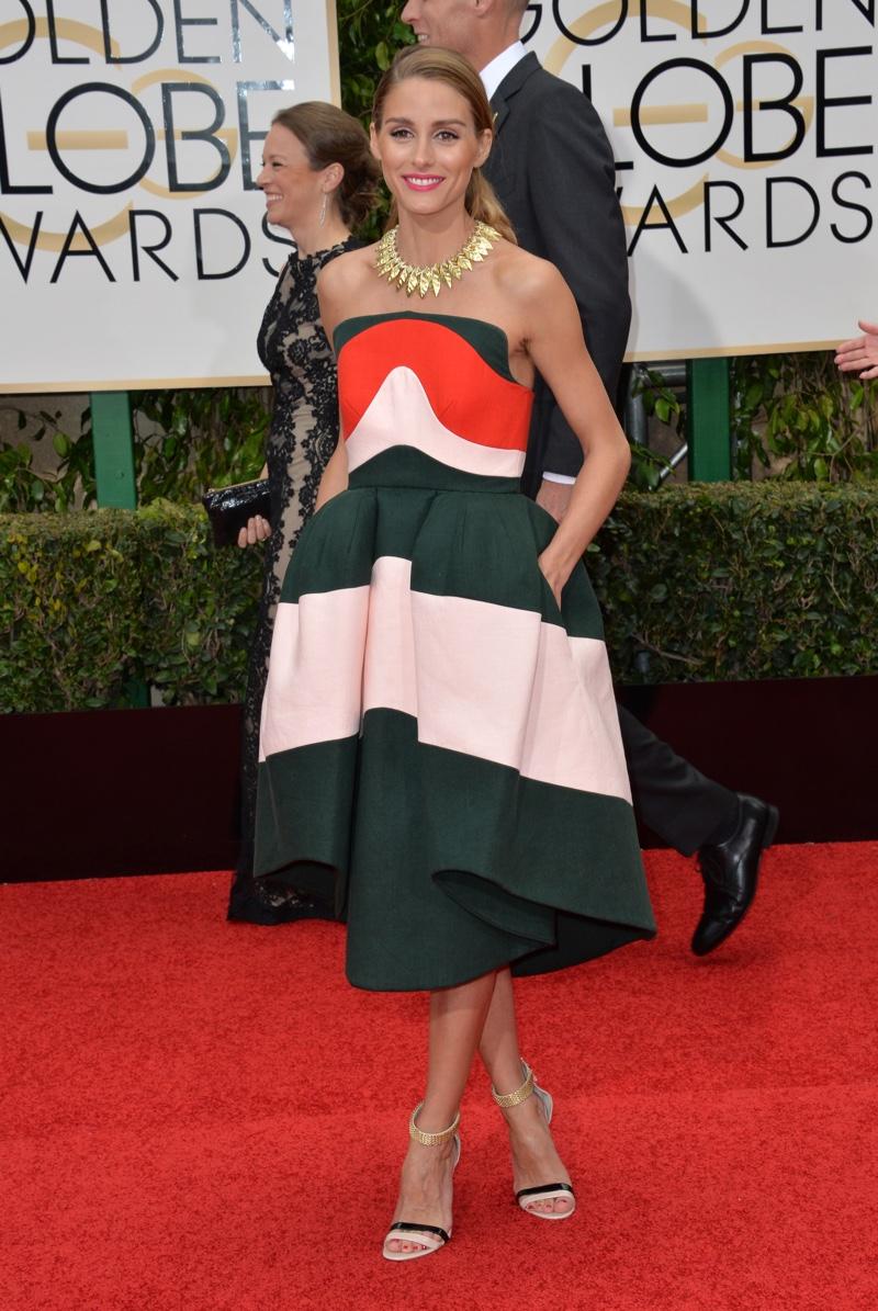 JANUARY 2016: Olivia Palermo attends the 2016 Golden Globe Awards wearing a multi-colored Delpozo dress. Photo: Featureflash / Shutterstock.com