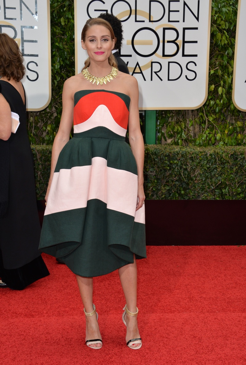 JANUARY 2016: Olivia Palermo attends the 2016 Golden Globe Awards wearing a multi-colored Delpozo dress. Photo: Featureflash / Shutterstock.com