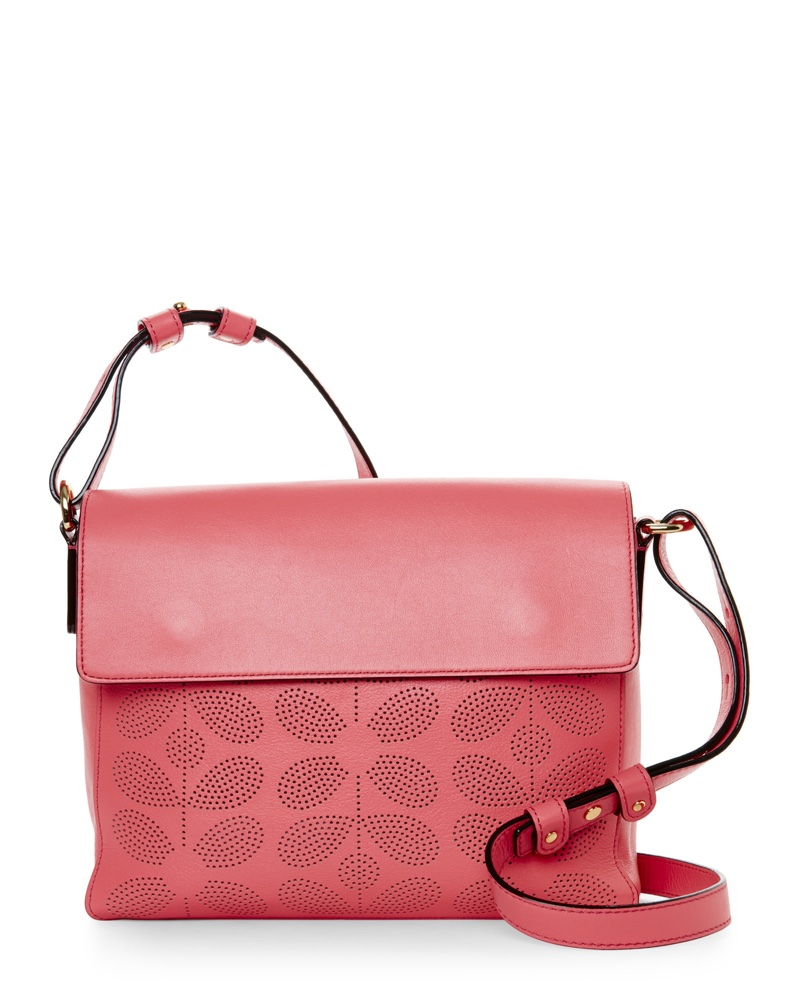 Orla Kiely Pink Sixties Stem Punched Olivia Bag