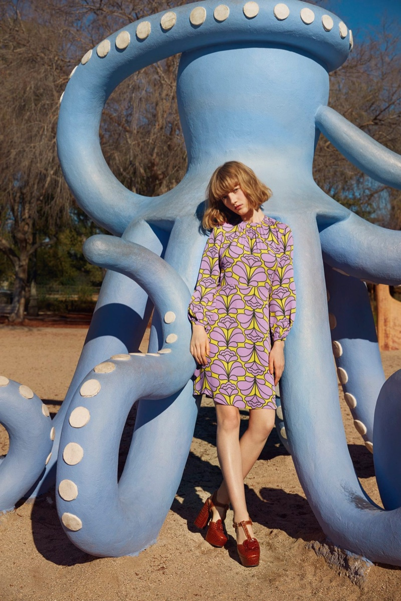 Lou Schoof models long sleeve printed dress from Orla Kiely's spring 2016 collection