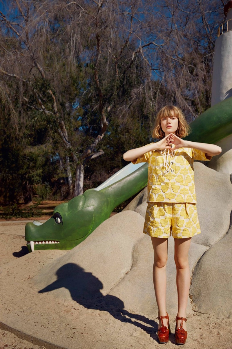Lou Schoof models yellow top and shorts from Orla Kiely's spring 2016 campaign