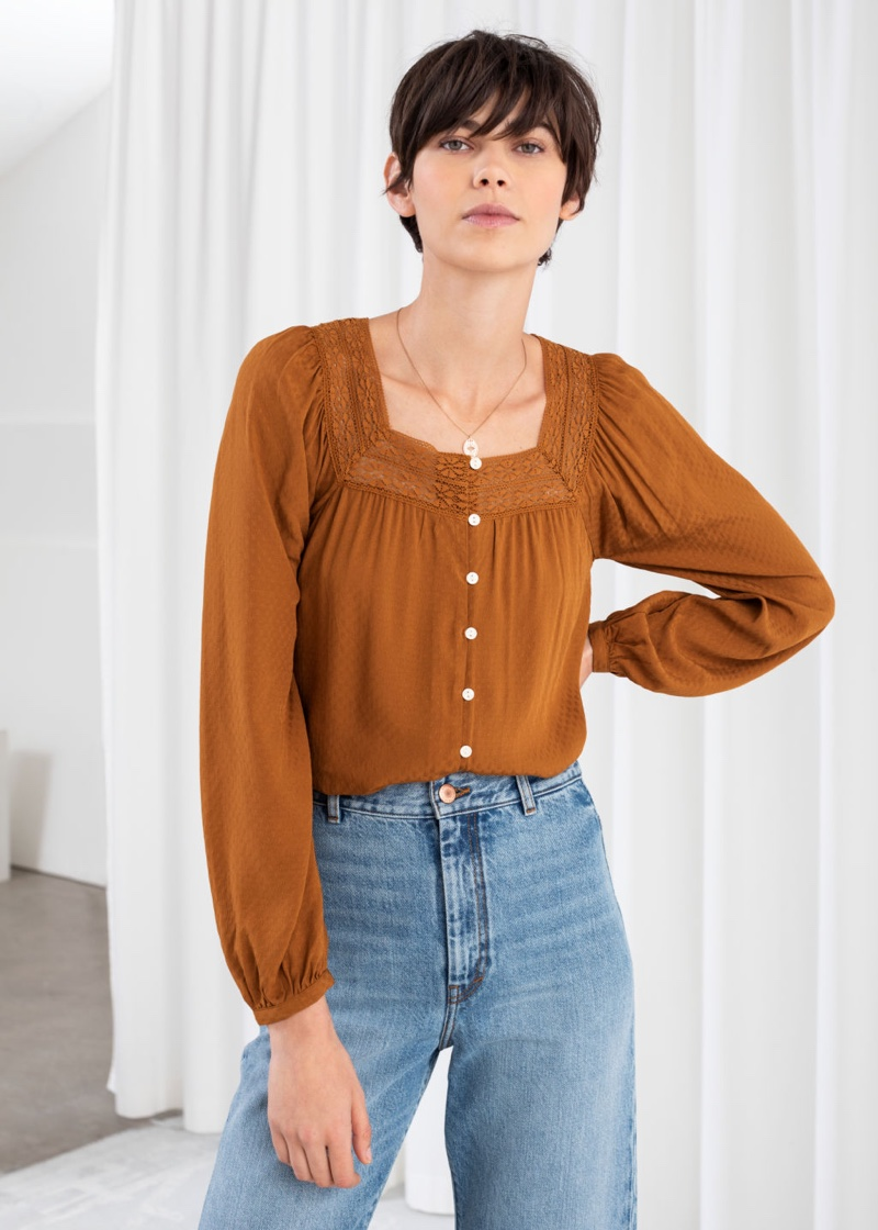 & Other Stories Cropped Lace Trim Peasant Blouse $89