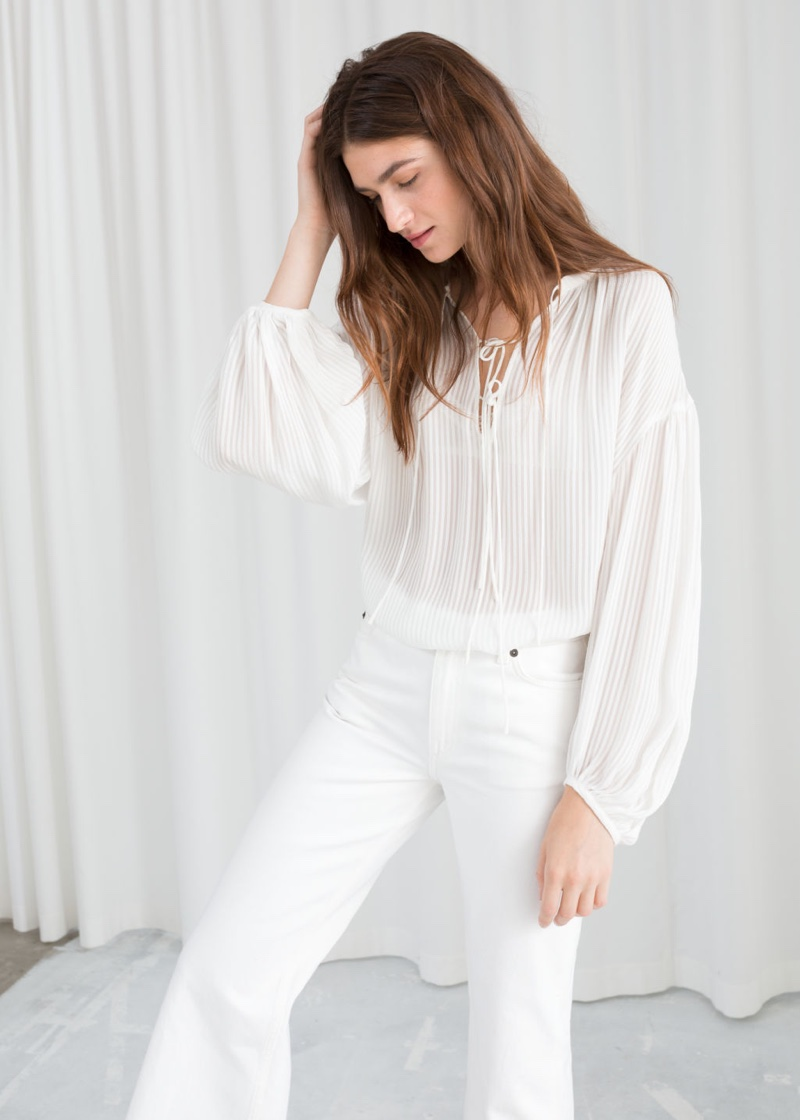 & Other Stories Sheer Stripe Tie Blouse $99