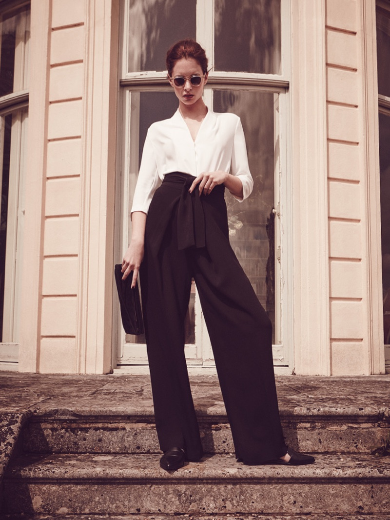 Reiss Keats Wrap-Front Top, Eve Wide-Leg Trousers, Edie Point-Toe Flats and Beau Suede Clutch